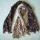 "La Fiorentina Mixed Media Fringed Nubby Scarf 61"" x 11"" Choice Brown Camel"