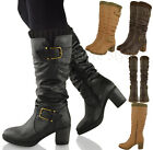 Ladies Womens Mid Block Heel Knee High Calf Warm Winter Riding Boots Shoes Size