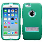 Apple iPhone 6 4.7 Rubber IMPACT kickstand HYBRID Skin Case Cover + Screen Guard