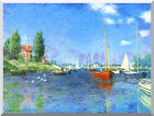 Red Boats Argenteuil Claude Monet Painting Repro Stretched Canvas Fine Art Print