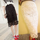 NEW Women's Fashion Knee Length High Quality Stretch Lace Bodycon Pencil Skirt