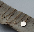 Gold/silver Hammered Disc Disk Coin Circle Charm Round Pendant Necklace Chain
