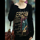 New Fashion Autumn Girl Print Long Sleeve Women Ladies T-shirt Tops Bottoming