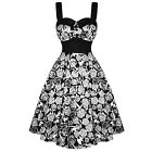 Hell Bunny Arcadia White Black Rose Skull Floral 50s Vintage Party Prom Dress