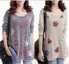 Style Women knit wool long Sleeve plus size Shirt Tops Blouse sweater 2 colors