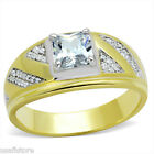 1.40ct Two Tone Micro-Pavé Setting 925 Sterling Silver & Gold EP Mens Ring
