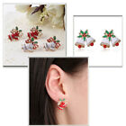 Christmas Xmas Bell Bowknot Crystal Gold Plated Earrings Ear Studs Jewelry New