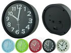 12cm Round Plastic Analog Desk Alarm Clock with 3D Numbers