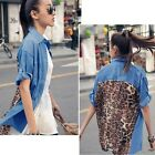 Womens Blue Denim Leopard Stitching Short Sleeve Shirt Loose Tops Blouses New