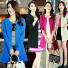 Fashion Long Sleeve Slim Blazer Collarless Coat Parka Jacket OL Suits outwear