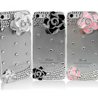 3D Flower Camellia Bling Rhinestone Diamond Crystal Case Cover For iPhone 5 5S