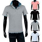 Fashion Mens Casual Plaid Short Sleeve Stand Collar Polo T-shirts Shirt Tee Tops