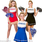 LADIES HIGH SCHOOL CHEERLEADER SCHOOLGIRL POM-POMS HEN NIGHT FANCY DRESS COSTUME