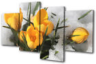 Floral Flowers In Snow MULTI CANVAS WALL ART Picture Print VA