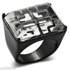 Ladies Synthetic Stone TIN Cobalt Black Plated Voulu Ring