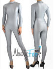 Silver Gray Super Hero Spandex Mock Neck Unitard,Bodysuit Aerobic Costume S-3XL