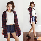 New Trends Classic Womens Boyfriend Red Plaid Casual Shirts Blouse Tops Oversize
