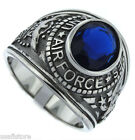 Montana Blue Stone Air Force US Military Silver Stainless Steel Mens Ring