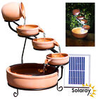 Ceramic Bowl Cascading Water Feature Vintage Jug Solar Powered Self Contained