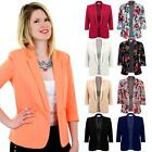Ladies 3/4 Turned Up Sleeve Open Front Women's Smart Office Blazer Lined Jacket