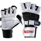 Real leather weight lifting gym training gloves with double wrist support straps