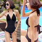 Hoy Sexy Bikini Halter Swimsuit Black & White Bra Girl's One-piece Swimwear B43