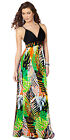 Donna Bella Strapy Maxi Exotic Color Printed Holiday Beach Holiday Party Dress