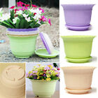 1~4PCS Plastic Flower Vegetable Planters Pot with Tray Home Garden Decor 6x4