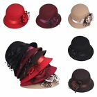 Vintage Fashion Womens Wool Hat Lace Flower Bow Bowler Derby Cloche Vogue Cap