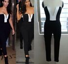 Sexy Women's V Neck Color Block Bodycon Bandage Strapless Jumpsuit Exposed dress
