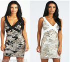 NEW BOOHOO BLACK GOLD SILVER WHITE IVORY SEQUIN SPARKLY EVENING PARTY DRESS