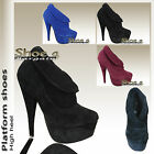 WOMENS LADIES PARTY PLATFORM HIGH HEEL COURT SHOES UK SIZE 3 - 8