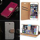 """Rhinestone Bling Glitter Flip Leather Wallet for 4.7"""" iPhone 6 Phone Case Cover"""