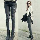 Ladies Fashion Zipper Vintage Skinny Pants Biker Chic Black Brown Jeans XK0040