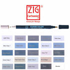 Zig Kurecolor Manga Cartoonist Fine & Brush Dual-Tip Marker Pen - Grey Colours