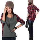 JAPAN KOREAN WOMENS LOOSE LONG SLEEVE PLAID T-SHIRT BLOUSE TOP