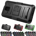 Heavy Duty Hybrid Holster Black Armor Case Rugged Phone Protector Cover