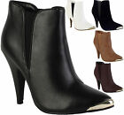 Ladies Metallic Slim Stiletto Heels Women Elastic Pull On Ankle Boots Shoes Size