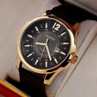 Men's Fashion Synthetic Leather Analog Sport Steel Case Quartz Date Wrist Watch
