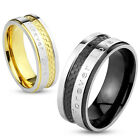 """Stainless Steel """"Forever Love"""" Etched Two Tone Checkered Stripe Couple Band Ring"""