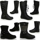 GIRLS SCHOOL BOOTS BIKER PARTY RIDING WESTERN FORMAL WINTER ZIP BLACK SHOES SIZE