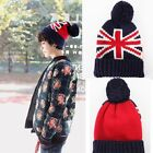 Winter Unisex/Girls Beanie Crochet Wool blend Oversized Hat Cap Flag Print New