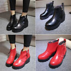 Ladies Thick With Platform Chunky Mid-heel Zipper Ankle Bootie Martin Boot Pumps