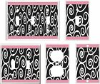 BLACK AND WHITE PINK SWIRL IMAGE  LIGHT SWITCH COVER PLATE OR OUTLETS U PICK