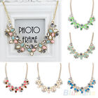 SOCIALITE MODISH BOHO 3 LEAVES FLOWER SPARKLY CRYSTAL PENDANT CHARMS NECKLACE