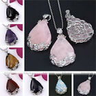 Gem Crystal Inlaid Waterdrop Flower Pendant Reiki Healing Bead For Necklace DIY