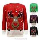 MENS UNISEX XMAS KNIT CHRISTMAS JUMPER RUDOLF SANTA REINDEER SWEATER PLUS SIZES