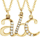 "Diamond Lowercase Letter Initial 18"" Necklace in 14K White or Yellow Gold"