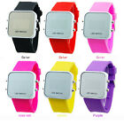 Led Digital Mirror Watch Unisex Fashionable Gel Silicone Sport Time Date Jelly