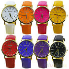 WOMEN UNISEX GENEVA ROMAN NUMERALS FAUX LEATHER BAND UNIQUE WRIST WATCH B10DH